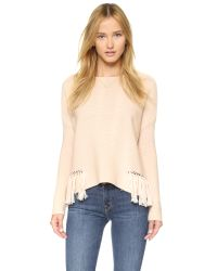 Ramy Brook | Pink Kelly Embellished Fringe Sweater - Blush | Lyst