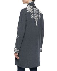 Johnny Was | Gray Tulia Embroidered Duster Cardigan | Lyst