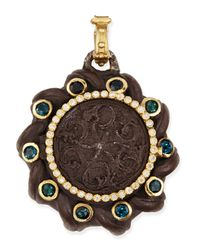 Armenta - Metallic Old World Spiral Coin Locket With Tourmaline & Diamonds - Lyst