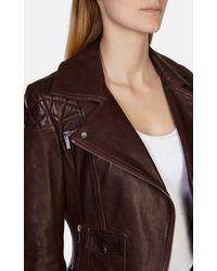 Karen Millen | Purple Signature Aubergine Leather Biker Jacket | Lyst