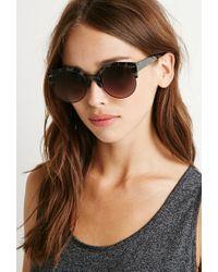 Forever 21 - Black Half-rim Cat-eye Sunglasses - Lyst