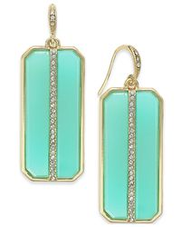 ABS By Allen Schwartz - Blue Gold-tone Rectangle Stone And Pavé Drop Earrings - Lyst