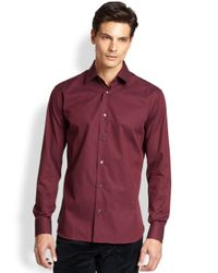 Ferragamo | Red Striped Woven Sportshirt for Men | Lyst