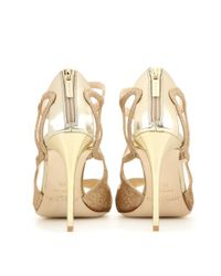 Jimmy Choo | Metallic Leslie 100 Glitter Sandals | Lyst