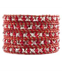 Chan Luu - Red Coral and Bronze Shade Wrap Bracelet On Natural Brown Leather - Lyst