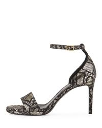Saint Laurent - Metallic Python-Embossed Leather Sandal - Lyst