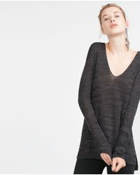Zara | Gray V-neck Sweater | Lyst