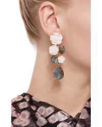 Bounkit | Multicolor Mother Of Pearl Carved Rose And Labradorite Drop Earrings | Lyst