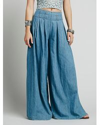 Free People | Blue Womens Everleigh Slit Wideleg | Lyst