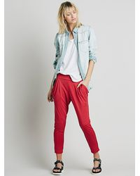 Free People - Red Womens Drapey Pocket Pant - Lyst