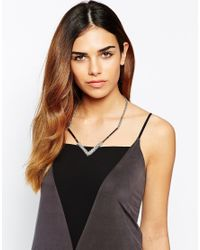 Lipsy | Metallic Fine Square Crystal Necklace | Lyst