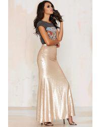 Nasty Gal | Metallic Sea Of Gold Sequin Maxi Skirt | Lyst