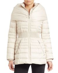 Laundry by Shelli Segal | White Fitted Puffer Coat | Lyst