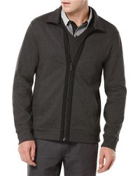 Perry Ellis - Black Knit Zip Up Sweater for Men - Lyst