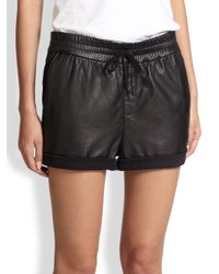 Helmut Lang - Black Drawstring Leather Combo Shorts - Lyst