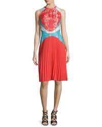 Christopher Kane - Blue Sleeveless Pleated Lace Combo Dress - Lyst
