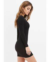 Forever 21 | Black Ribbed Knit Bodycon Dress | Lyst