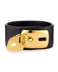 Valentino | Metallic Leather Padlock Cuff Bracelet | Lyst