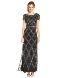 Adrianna Papell | Black Cap-sleeve Beaded Illusion Gown | Lyst
