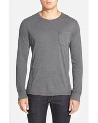 French Connection | Gray Long Sleeve Pocket T-shirt for Men | Lyst