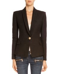 Balmain - Black Tweed One-button Jacket - Lyst