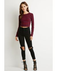 Forever 21 - Blue Striped Crop Top - Lyst
