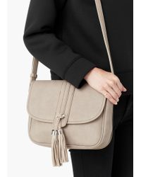 Mango - Natural Pebbled Cross-body Bag - Lyst