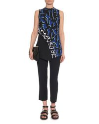 Proenza Schouler - Blue Shadow-print Georgette Top - Lyst
