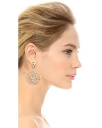 Oscar de la Renta | Metallic Pave Flower Clip On Earrings - Crystal/silver | Lyst