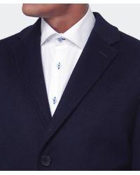 BOSS - Blue Stratus Wool Overcoat for Men - Lyst