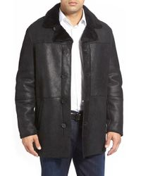 Andrew Marc | Black 'gloucester' Genuine Shearling Car Coat for Men | Lyst