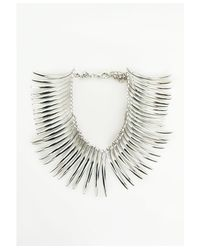 Missguided - Metallic Statement Curved Spike Necklace Silver - Lyst