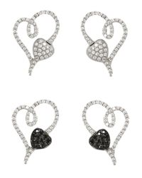 Effy | Metallic Diversa 14K White Gold Black And White Diamond 2-Way Earrings, 1.3Tcw | Lyst