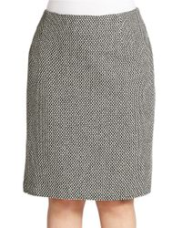 Lord & Taylor | Black Plus Tweed Pencil Skirt | Lyst