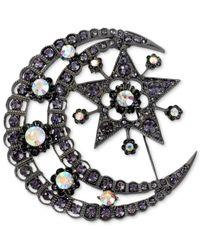 Betsey Johnson - Metallic Hematite-Tone Crystal Moon And Star Pin - Lyst