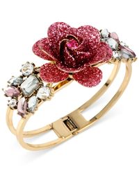 Betsey Johnson | Pink Gold-tone Glitter Rose Hinged Bangle Bracelet | Lyst