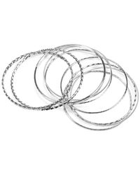 Jones New York - Metallic Silver-Tone Textured Bangle Bracelet Set - Lyst