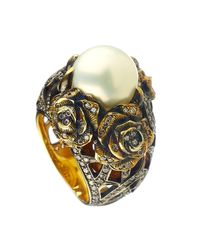 Queensbee | Metallic Pearl And Roses Ring White | Lyst
