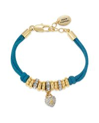 Juicy Couture | Goldtone Pave Heart Blue Corded Bracelet | Lyst