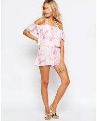 ASOS - Pink Tie Dye Frill Crop Beach Top Co-ord - Lyst