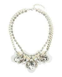 Mikey | White Coloured Box Chain With Crystal Pendant | Lyst