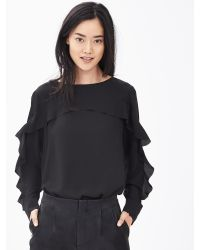 Banana Republic | Black Ruffle-front Blouse | Lyst