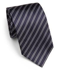 Armani | Gray Striped Silk Tie for Men | Lyst