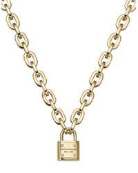 Michael Kors | Metallic Goldtone Padlock Pendant Necklace | Lyst
