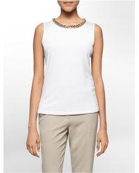 Calvin Klein | White Label Chain Neck Hardware Sleeveless Top | Lyst