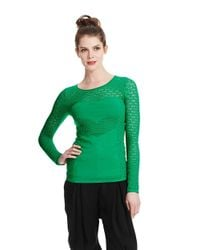 Catherine Malandrino | Green Pointelle Top | Lyst