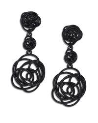 Oscar de la Renta | Black Wire Rose Clip-on Drop Earrings | Lyst