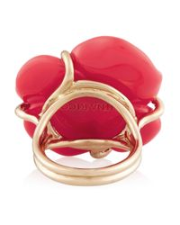 Nina Ricci - Pink Goldtone Resin and Crystal Ring - Lyst
