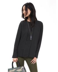 Banana Republic | Black Piped Pleat-back Blouse | Lyst