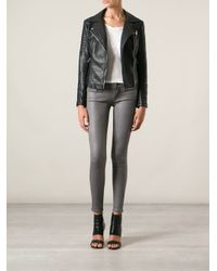 7 For All Mankind - Gray Coated Skinny Jeans - Lyst